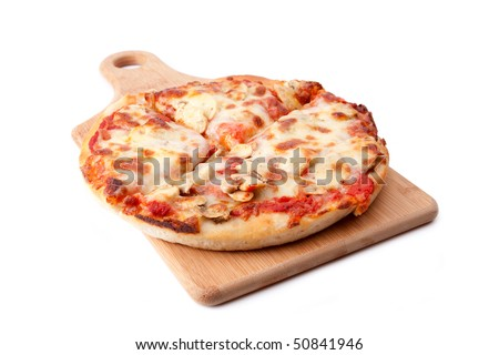 A small mushroom pizza, cut into four slices, rests on a wooden cutting board. - stock photo