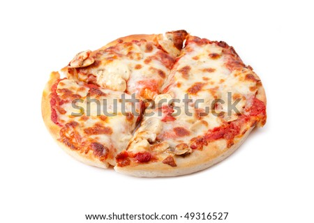 A small mushroom pizza, cut into 4 slices, on a white background. Selective focus.