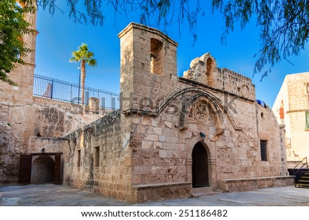 a small orthodox chapel in the yard of Ayia Napa Monastery, Cyprus - stock photo