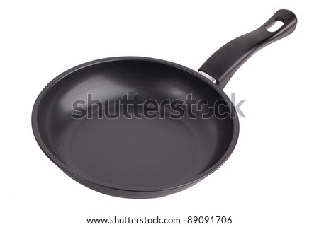 A small pan with a plastic handle on a white background