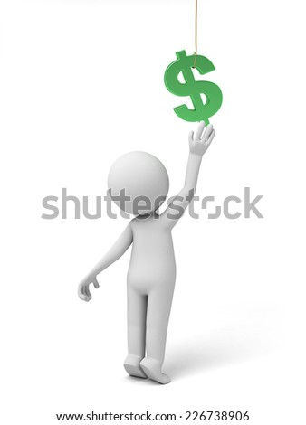 A small person with a green dollar currency symbol.