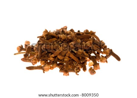 A small pile of cloves isolated on white.