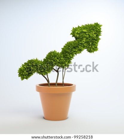 A small plant in a pot shaped like a graph
