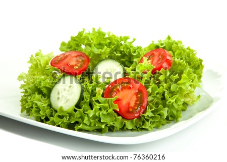 A small portion of salad on a white plate. - stock photo