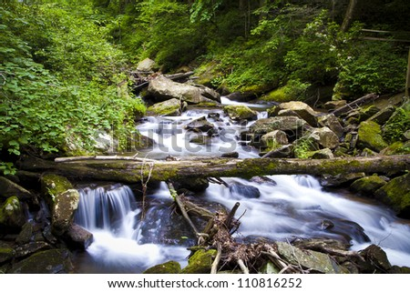 A small rapid on Curtis Creek just below Anna Ruby Falls in Helene, GA. - stock photo