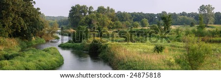 A small river prefect for kayaking in the upper midwest. - stock photo