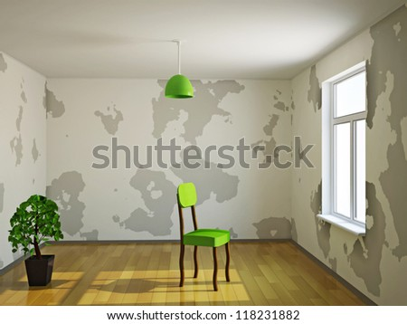 A small room with plant and chair