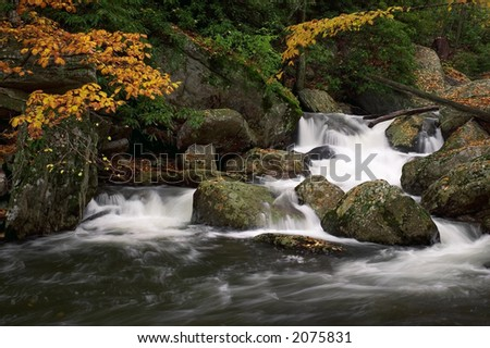 A small secluded cascade in the forests of  Virginia. Taken with a slow shutter speed to soften the water. Nice detail in the water showing the water flow as it swirls around  the rocks. - stock photo