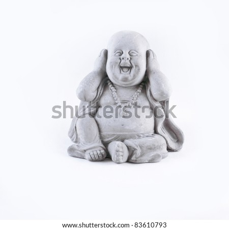 A small statue isolated on a white background - stock photo