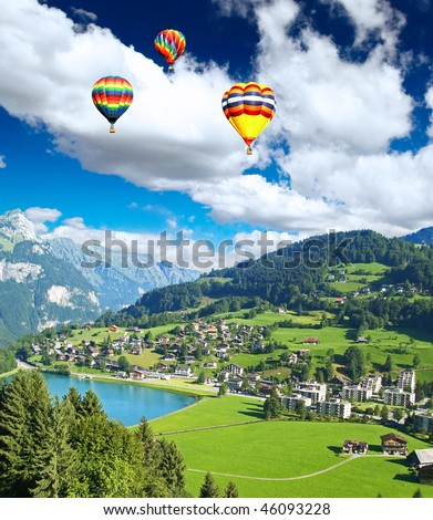 A small swiss village near The Mountain Titlis in Switzerland