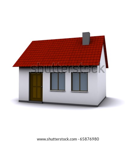 A small three-dimensional house with red roof on a white background. - stock photo