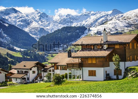 A small town in the Alps, Switzerland - stock photo