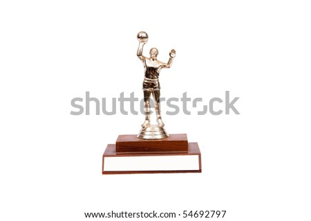 a small trophy with a basketball player - stock photo