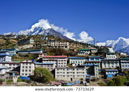 A small village located near Mt. Everest - stock photo