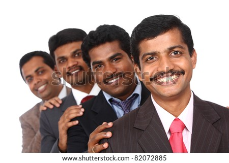 A smart Indian business team taken with selective focus isolated on white. - stock photo