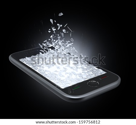 A smart phone display screen being shattered  - stock photo