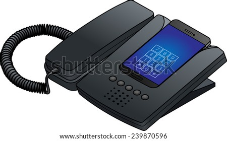 A smart phone docked into a desktop phone cradle with a corded handset. - stock photo