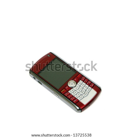 "A ""smart phone"" type cell phone against a white background."