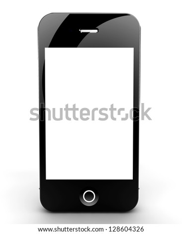 A smartphone isolated on a white background with white screen for your copyspace - stock photo