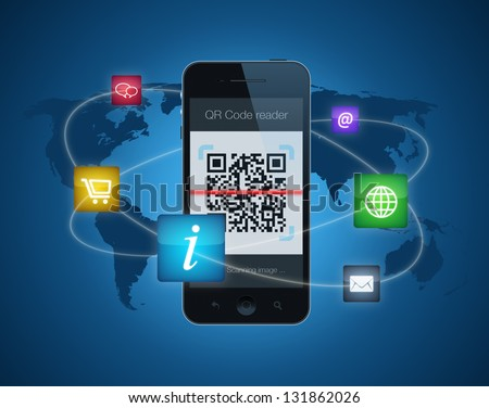A smartphone showing a QR code reader. Information concept with apps icons for shopping, information, email, websites and downloading information. - stock photo