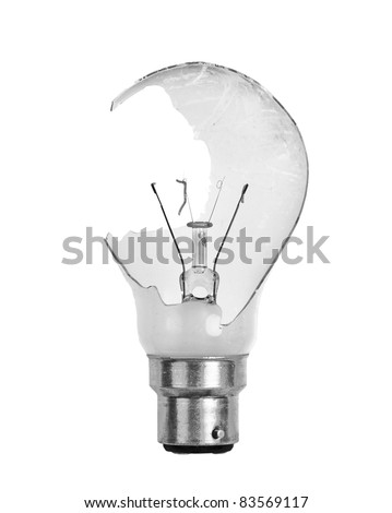 a smashed light bulb isolated on a white background - stock photo