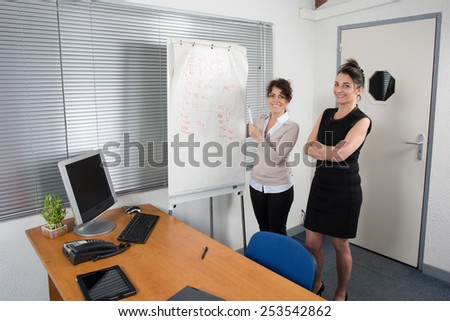 A Smiling Adult Office Woman Showing business plan on paper board