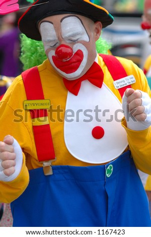 A smiling and funny clown in St.Patrick Parade Atlanta 2006 - stock photo