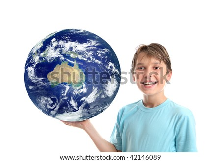A smiling, boy holding our planet earth in the palm of his hand.   Earth showing mainly Australia,   Concept, science education, environmental issues, travel destinations, asia pacific, oceania, etc - stock photo