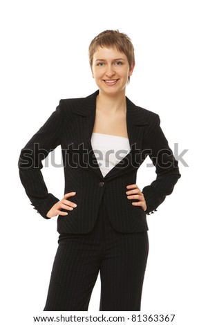 A smiling business woman looking upwards - on white background