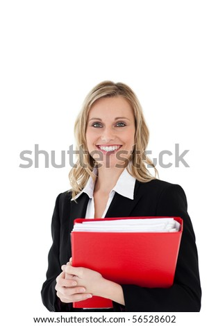 A smiling businesswoman holding a red file against white background - stock photo