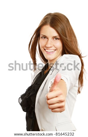 A smiling businesswoman with thumb up sign, isolated on white background