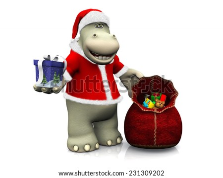 A smiling cartoon hippo, dressed as Santa, handing out Christmas gifts from a santa bag. White background. - stock photo