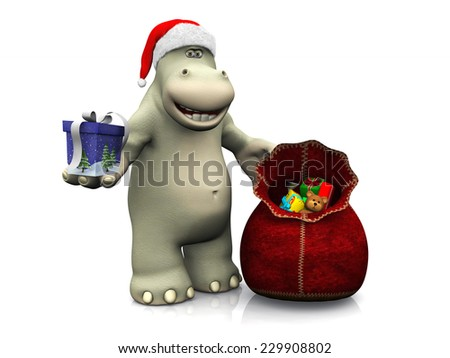 A smiling cartoon hippo handing out Christmas gifts from a santa bag. White background. - stock photo