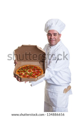 A smiling chef holding a pizza in a take out box - stock photo