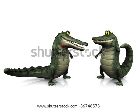 A smiling, friendly male cartoon crocodile giving a female crocodile flowers.