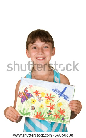 A smiling girl holding a picture which depicts butterflies, insects, flowers on a white background - stock photo