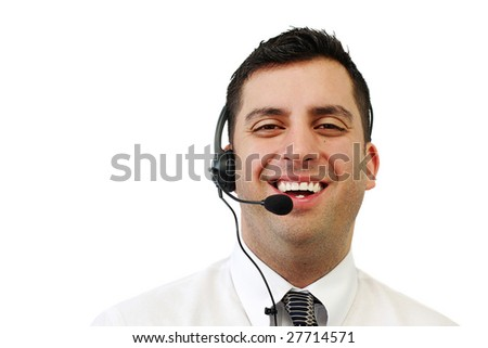 A smiling handsome man wearing a headset isolated over white - stock photo