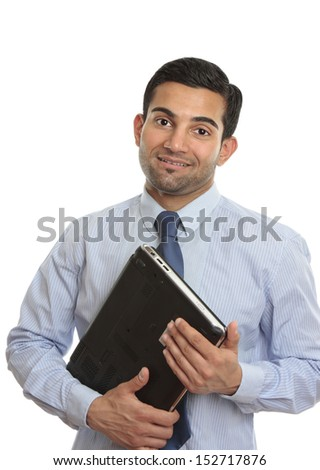 A smiling IT consultant, technician or  computer salesman or worker holding a laptop computer.  White background.   - stock photo