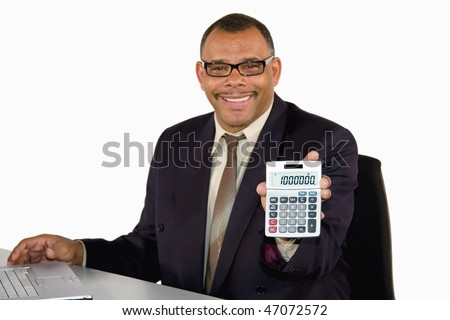a smiling mature African-American businessman holding a pocket calculator showing the sum of one million, isolated on white background - stock photo