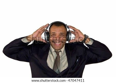 a smiling mature African-American man with headphones, isolated on white background - stock photo