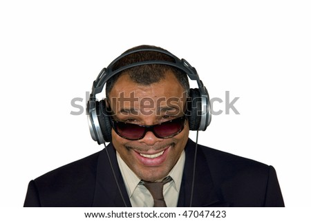 a smiling mature African-American man with sunglasses and headphones, isolated on white background - stock photo