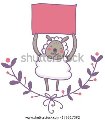 A smiling sheep holding an empty signal on its head; wreath frame