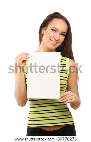 A smiling woman is holding a blank - on white background - stock photo