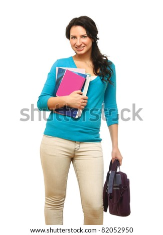 A smiling woman with books and a bag, standing isolated on white background - stock photo