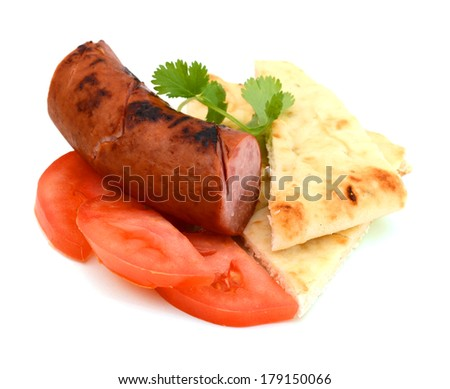 A smoked sausage meal against the white background  - stock photo