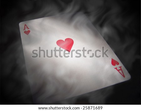 A smokey ace of hearts on a black background. - stock photo