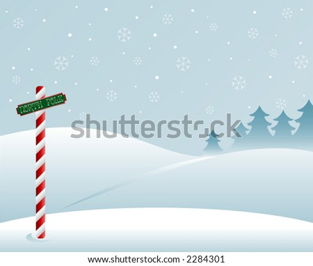 A snow white winter scene at the North Pole - snowflakes in the sky and pine trees in the distance - stock photo