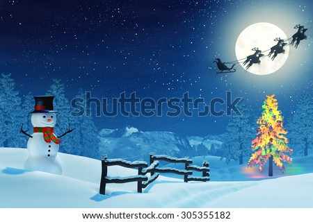 A snowman in a moonlit snowy Christmas landscape at night under a full moon. The trees are covered in snow and one of the trees is lit by colourful Christmas lights.