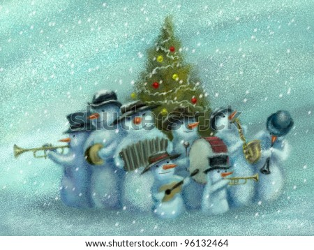 A snowmen jazz band is playing music, standing around the Christmas tree. Funny Christmas greeting card. Digital painting.