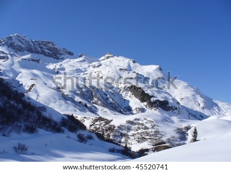 A snowy mountain in Lech in the Austrian alps